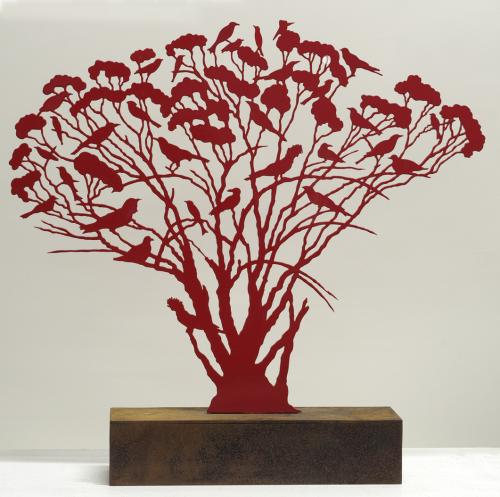Red Mallee Tree with Birds by Judy Holding